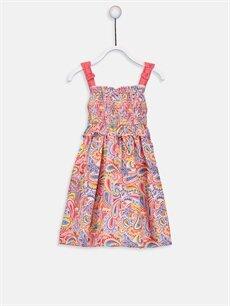 Mercan Kız Bebek Desenli Poplin Elbise 9SU937Z1 LC Waikiki