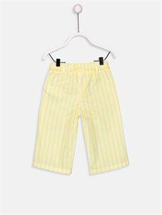 %100 Pamuk Normal Bel Standart Kız Bebek Çizgili Gabardin Pantolon