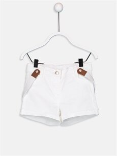 Ekru Kız Bebek Poplin Şort ve Pantolon Askısı 9SV867Z1 LC Waikiki