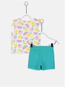 %100 Pamuk Standart Pijamalar Kız Bebek Baskılı Pijama Takımı