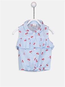 Mavi Kız Bebek Desenli Poplin Gömlek 9SY796Z1 LC Waikiki