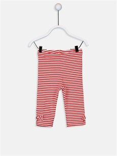 Kırmızı Kız Bebek Pamuklu Çizgili Tayt 9SA169Z1 LC Waikiki