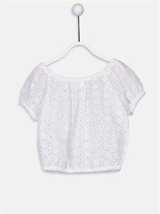 %70 Pamuk %30 Polyester Kısa Kol Bluz Düz Standart Kız Bebek Poplin Bluz