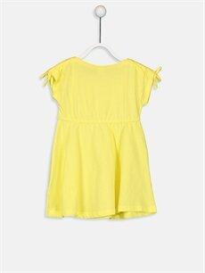 %100 Pamuk Diz Üstü Desenli Kız Bebek Yazı Baskılı Pamuklu Elbise