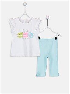 Beyaz Kız Bebek Desenli Tişört Ve Tayt 2'li 9SB449Z1 LC Waikiki