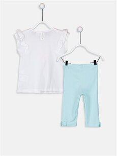 %100 Pamuk %95 Pamuk %5 Elastan  Kız Bebek Desenli Tişört Ve Tayt 2'li