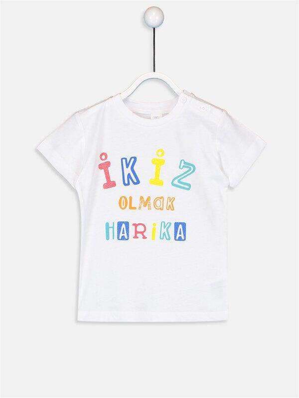 Erkek Bebek Yazı Baskılı Pamuklu Tişört - LC WAIKIKI