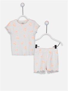 Beyaz Kız Bebek Desenli Pamuklu Pijama Takımı 9SC566Z1 LC Waikiki