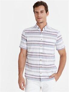 Bordo Regular Fit Çizgili Kısa Kollu Poplin Gömlek 9W0491Z8 LC Waikiki