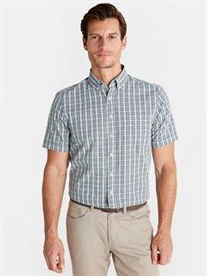 %100 Pamuk Normal Kısa Kol Ekoseli Gömlek Düğmeli Regular Fit Ekoseli Kısa Kollu Poplin Gömlek