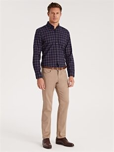 Kahverengi Regular Fit Armürlü Pantolon 9W0628Z8 LC Waikiki