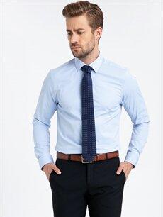 %47 Pamuk %49 Polyester %4 Elastan Düz En Dar Uzun Kol Gömlek Düğmesiz Ekstra Slim Fit Poplin Gömlek