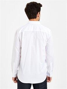 %64 Pamuk %36 Polyester Normal Desenli Uzun Kol Gömlek Düğmesiz Regular Fit Armürlü Uzun Kollu Gömlek