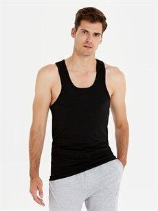 %95 Pamuk %5 Elastan Dar İç Giyim Üst Dar Kalıp 2'li Atlet Takımı
