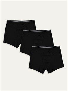 Siyah Esnek Kumaş Standart Kalıp Boxer 3'lü 9W1056Z8 LC Waikiki