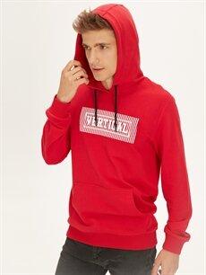 Erkek Kapüşonlu Baskılı Sweatshirt