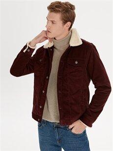 %100 Pamuk %100 Polyester Orta Dar Kısa Kaban Slim Fit Düğme Kapamalı Kaban