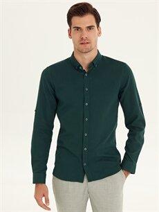 %100 Pamuk Dar Desenli Uzun Kol Gömlek Düğmeli Slim Fit Armürlü Uzun Kollu Poplin Gömlek