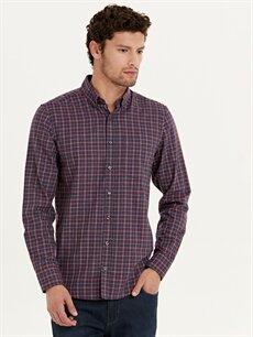 %60 Pamuk %40 Polyester Normal Uzun Kol Ekoseli Gömlek Düğmeli Regular Fit Ekose Uzun Kollu Gömlek