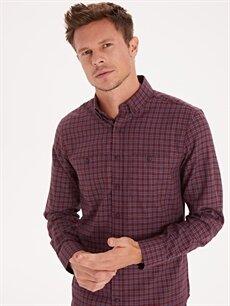 %60 Pamuk %40 Polyester Normal Uzun Kol Ekoseli Gömlek Düğmeli Regular Fit Ekose Uzun Kollu Gabardin Gömlek