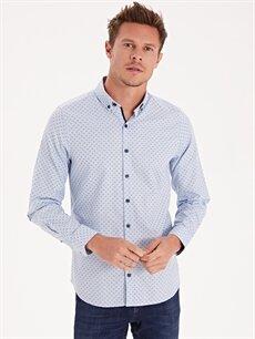 Erkek Slim Fit Desenli Uzun Kollu Poplin Gömlek
