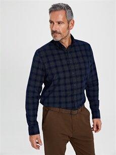 %100 Pamuk Regular Fit Ekose Uzun Kollu Kadife Gömlek
