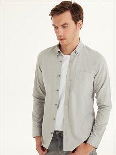 %100 Pamuk Düz Uzun Kol Gömlek Düğmeli Dar Slim Fit Uzun Kollu Oxford Gömlek