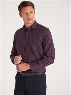 %58 Pamuk %42 Polyester Normal Ekoseli Uzun Kol Gömlek Düğmesiz Regular Fit Ekose Uzun Kollu Gabardin Gömlek