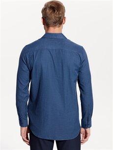 %58 Pamuk %42 Polyester Regular Fit Ekose Uzun Kollu Gabardin Gömlek