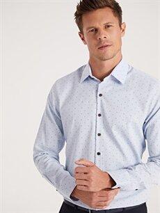 %57 Pamuk %43 Polyester Dar Desenli Uzun Kol Gömlek Düğmesiz Slim Fit Desenli Uzun Kollu Gömlek