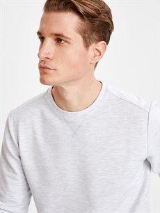 %89 Pamuk %10 Poliester %1 Vıscose Bisiklet Yaka Basic Sweatshirt