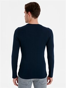 Erkek Bisiklet Yaka Uzun Kollu Pamuklu Tişört