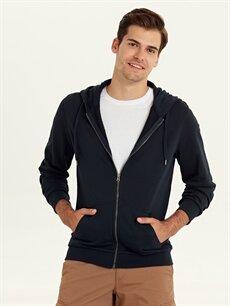 Lacivert Kapüşonlu Basic Sweatshirt 9W3323Z8 LC Waikiki