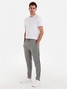 Gri Slim Fit Çizgili Pantolon 9W3396Z8 LC Waikiki
