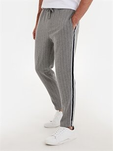 %20 Pamuk %79 Poliester %1 Elastan Normal Bel Dar Pilesiz Pantolon Slim Fit Çizgili Pantolon