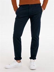 %97 Pamuk %3 Elastan Dar Normal Bel Pilesiz Pantolon Slim Fit Armürlü Pantolon