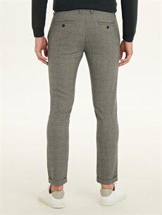 Erkek Slim Fit Ekose Bilek Boy Poliviskon Pantolon