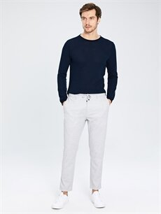 %82 Polyester %18 Viskoz Dar Normal Bel Pilesiz Pantolon Slim Fit Bilek Boy Poliviskon Pantolon