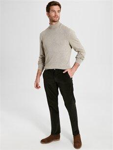%98 Pamuk %2 Elastan Normal Bel Normal Pilesiz Pantolon Standart Kalıp Kadife Pantolon