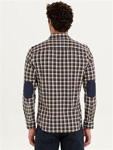 Erkek Slim Fit Ekose Uzun Kollu Poplin Gömlek