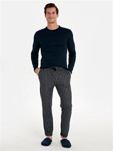 %75 Polyester %25 Viskoz Standart Pijamalar Standart Kalıp Ekose Pijama Alt