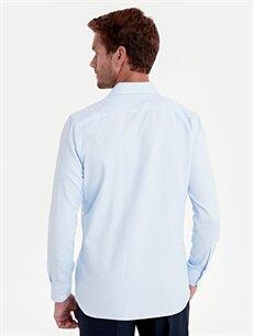 %60 Pamuk %40 Polyester Slim Fit Armürlü Uzun Kollu Gömlek