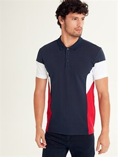 %100 Pamuk Standart Çizgili Kısa Kol Tişört Polo Polo Yaka Kısa Kollu Pike Tişört