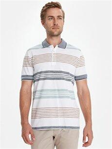 %100 Pamuk Çizgili Standart Kısa Kol Tişört Polo Polo Yaka Çizgili Kısa Kollu Pamuklu Tişört