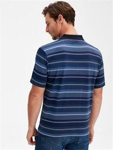 %100 Pamuk Çizgili Bol Kısa Kol Tişört Polo Polo Yaka Çizgili Kısa Kollu Pamuklu Tişört