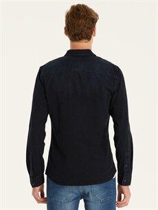 Erkek Slim Fit Uzun Kollu Jean Gömlek