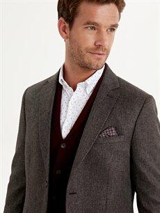 Erkek Dar Kalıp Dokulu Blazer Ceket