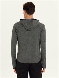 %97 Polyester %3 Elastan Düz Standart Uzun Kol Tişört Kapüşonlu Kapüşonlu Aktif Spor Tişört