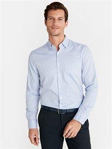 %100 Pamuk Normal Ekoseli Uzun Kol Gömlek Düğmesiz Regular Fit Ekose Uzun Kollu Poplin Gömlek