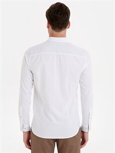 Erkek Slim Fit Desenli Uzun Kollu Oxford Gömlek